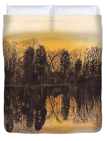 Reflections At Sunset On Bitely Lake Duvet Cover