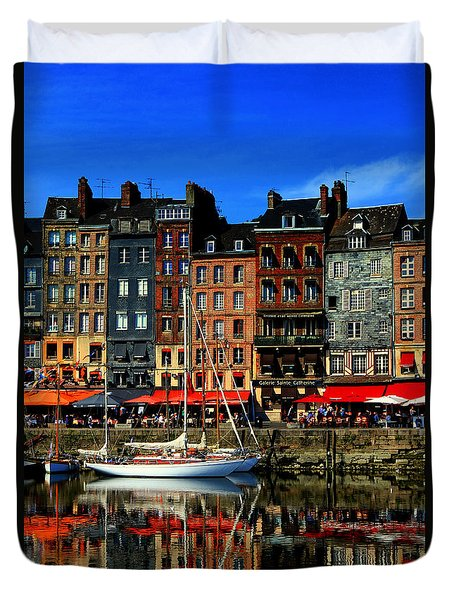 Reflections Honfleur France Duvet Cover