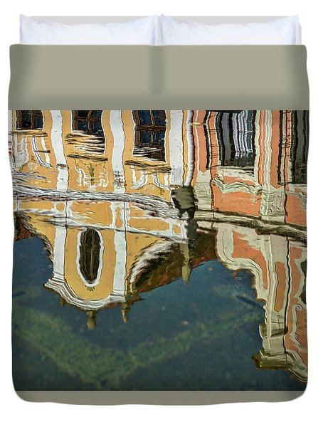 Duvet Cover featuring the photograph Reflections In A Czech Fountain by Stuart Litoff