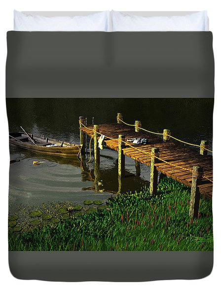 Reflections In A Restless Pond Duvet Cover