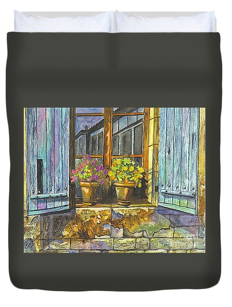 Duvet Cover featuring the painting Reflections In A Window by Carol Wisniewski