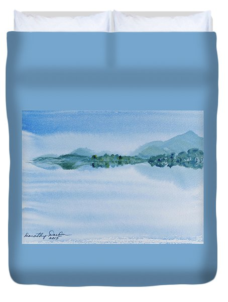 Reflection Of Mt Rugby In Bathurst Harbour Duvet Cover