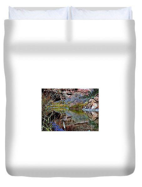 Reflections In Desert River Canyon Duvet Cover by Annie Gibbons