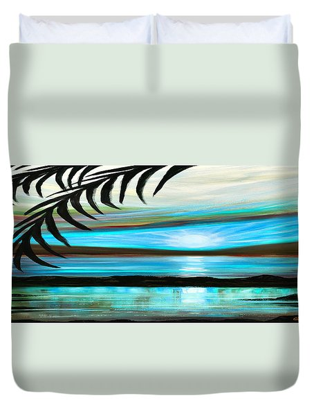 Reflections In Teal - Panoramic Sunset Duvet Cover