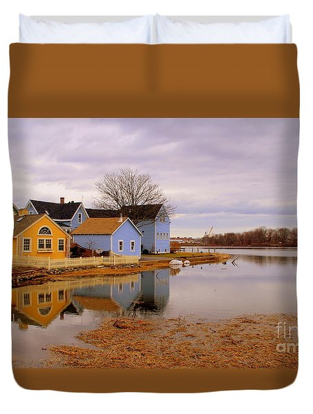Reflections In The Harbor Duvet Cover