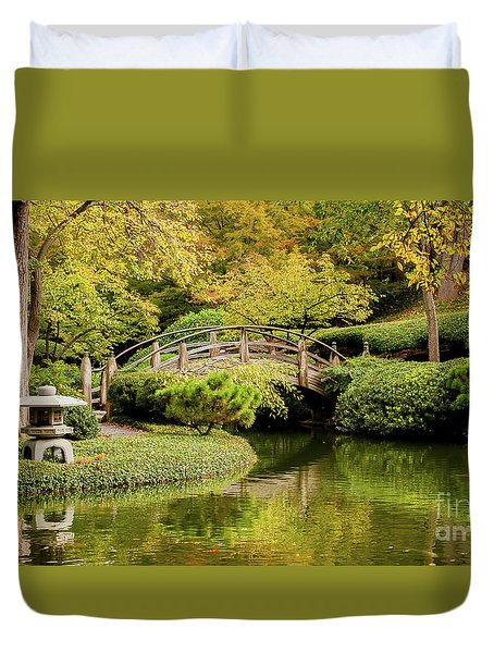 Duvet Cover featuring the photograph Reflections In The Japanese Garden by Iris Greenwell