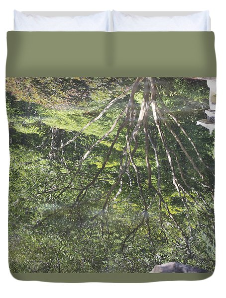 Reflections In The Japanese Gardens Duvet Cover