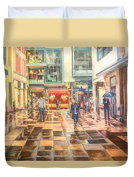 Reflections In The Pavement, Brown Street, Manchester Duvet Cover