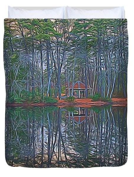 Reflections In The Pines Duvet Cover