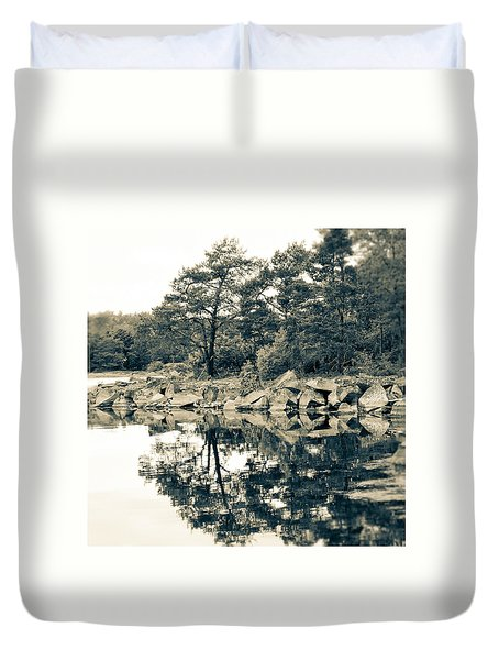 Duvet Cover featuring the photograph Reflections by Karen Stahlros