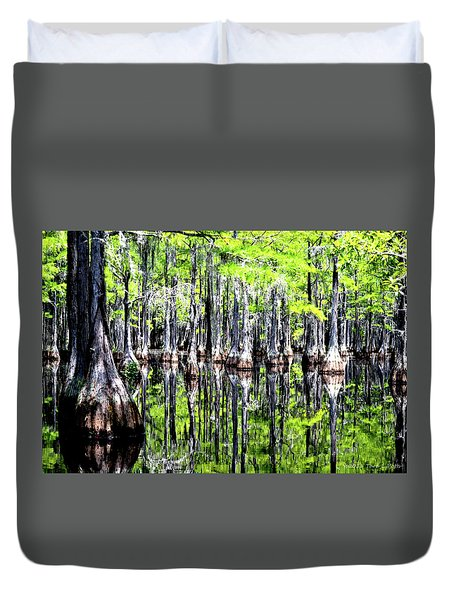 Reflections Of A Cypress Forest Duvet Cover