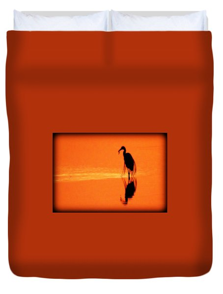 Reflections Of A Heron Duvet Cover