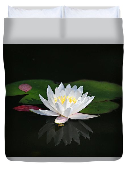 Reflections Of A Water Lily Duvet Cover by Trina  Ansel