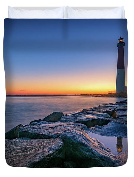 Reflections Of Barnegat Light Duvet Cover