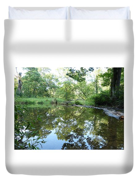 Reflections Of Beetree Run Duvet Cover by Donald C Morgan