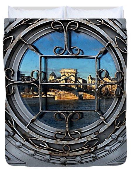 Reflections Of Budapest Duvet Cover