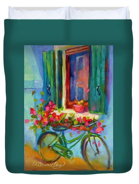 Duvet Cover featuring the painting Reflections Of Burano by Chris Brandley