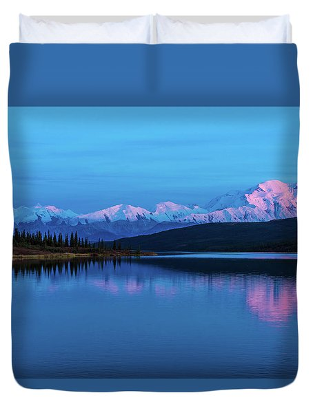 Sunset Reflections Of Denali In Wonder Lake Duvet Cover