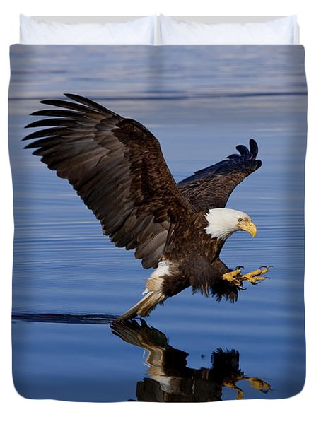 Reflections Of Eagle Duvet Cover by John Hyde - Printscapes