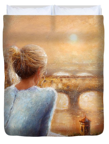 Duvet Cover featuring the painting Reflections Of Florence by Michael Rock
