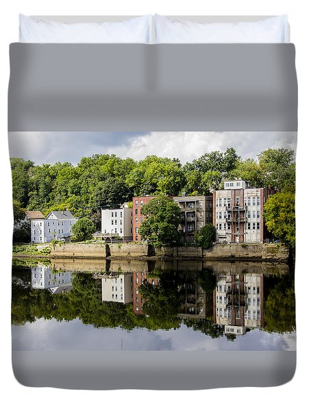 Reflections Of Haverhill On The Merrimack River Duvet Cover