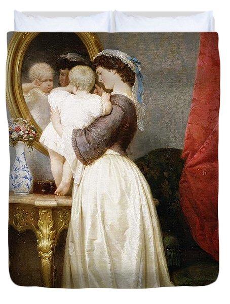 Reflections Of Maternal Love Duvet Cover by Robert Julius Beyschlag