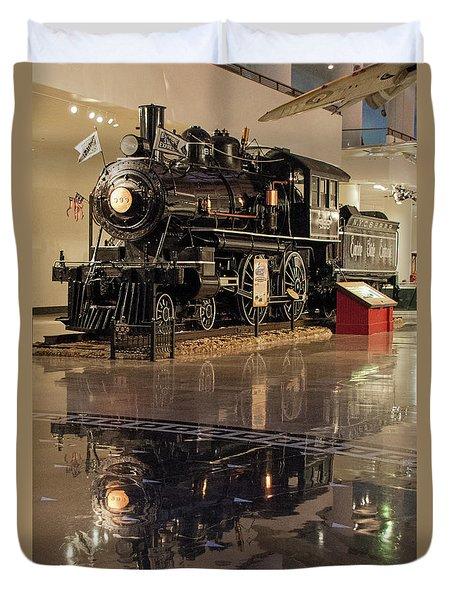 Reflections Of Steam Duvet Cover by John Black