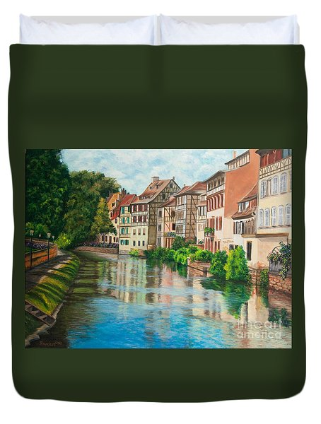 Reflections Of Strasbourg Duvet Cover by Charlotte Blanchard