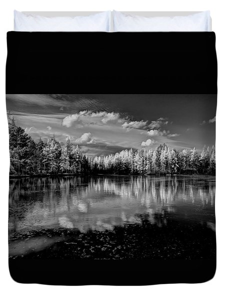 Reflections Of Tamaracks Duvet Cover by David Patterson