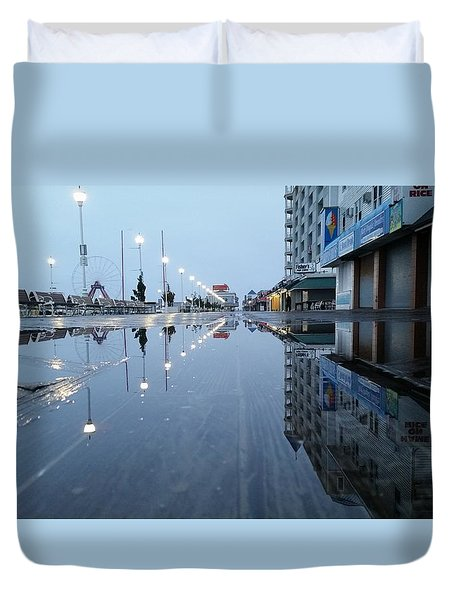 Reflections Of The Boardwalk Duvet Cover
