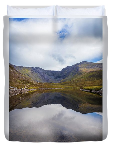 Duvet Cover featuring the photograph Reflections Of The Macgillycuddy's Reeks In Lough Eagher by Semmick Photo