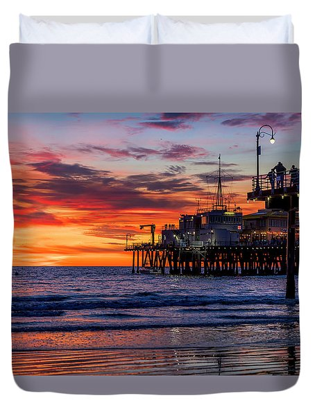 Reflections Of The Pier Duvet Cover