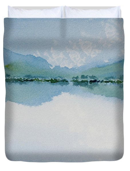 Reflections Of The Skies And Mountains Surrounding Bathurst Harbour Duvet Cover