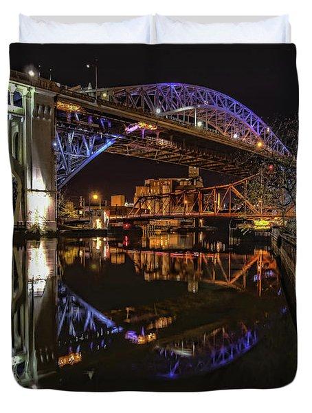 Reflections Of Veterans Memorial Bridge  Duvet Cover