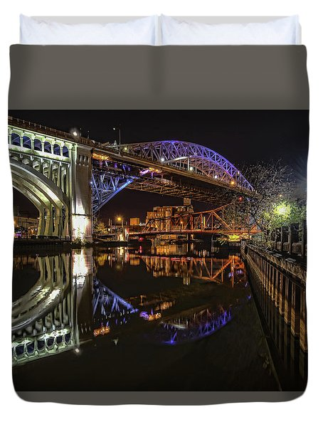 Duvet Cover featuring the photograph Reflections Of Veterans Memorial Bridge  by Brent Durken
