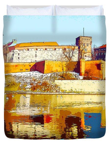 Reflections Of Wawel, Krakow Castle, Poland From The Vistula Riv Duvet Cover