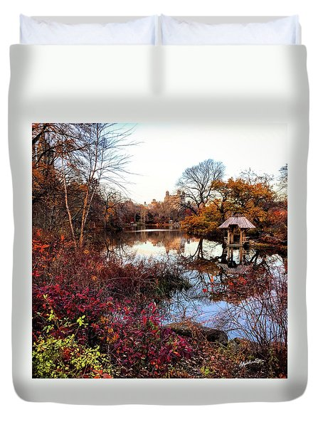 Duvet Cover featuring the photograph Reflections On A Winter Day - Central Park by Madeline Ellis