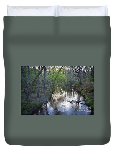 Duvet Cover featuring the photograph Reflections On The Congaree Creek by Skip Willits