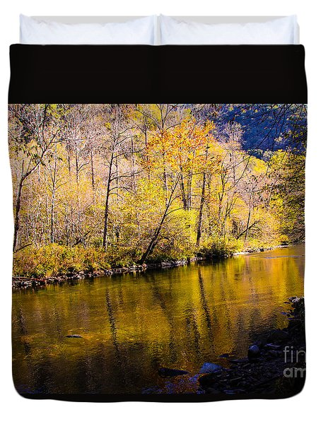 Reflections On The Nantahala Duvet Cover by Marilyn Carlyle Greiner