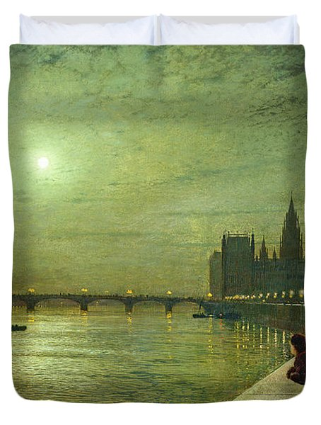 Reflections On The Thames Duvet Cover by John Atkinson Grimshaw
