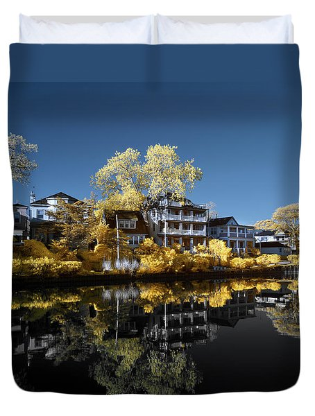Reflections On Wesley Lake Duvet Cover by Paul Seymour