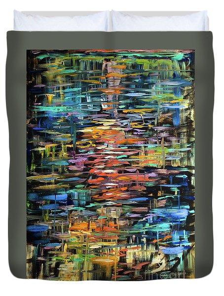 Reflections Rain Duvet Cover by Linda Olsen