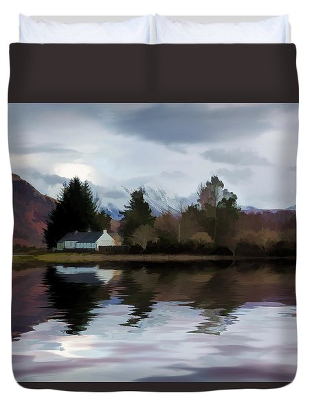 Duvet Cover featuring the photograph Reflections Scotland by Lynn Bolt