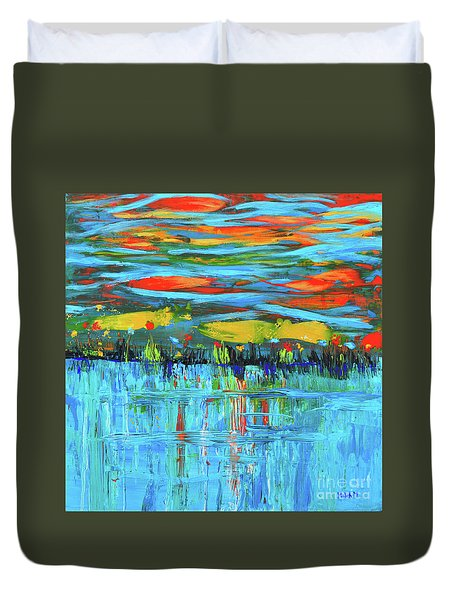 Reflections Sky And Landscape Abstract Duvet Cover