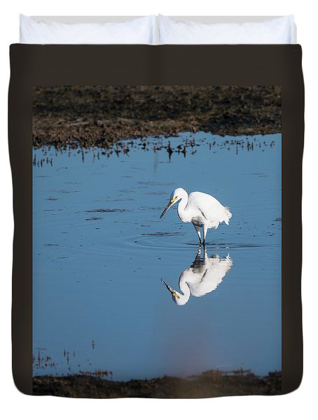Reflections White Egret Duvet Cover