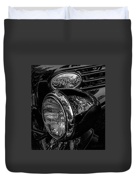 Reflective Ford In Black-and-white Duvet Cover