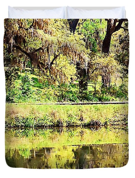 Duvet Cover featuring the photograph Reflective Live Oaks by Donna Bentley