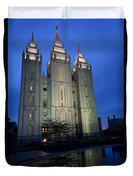 Reflective Temple Duvet Cover by Chad Dutson