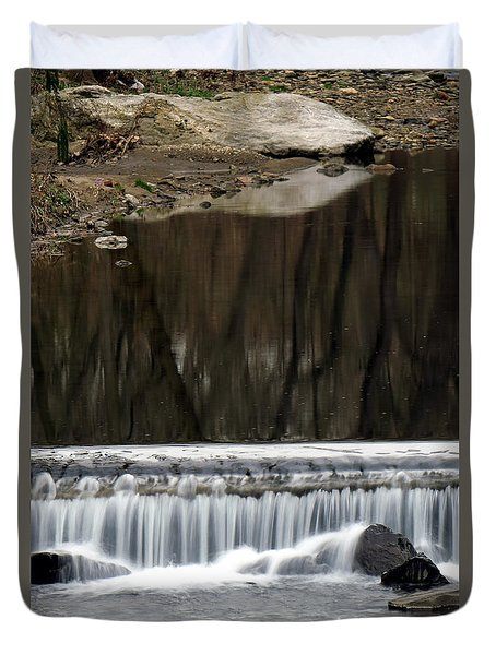 Duvet Cover featuring the photograph Reflexions And Water Fall by Dorin Adrian Berbier