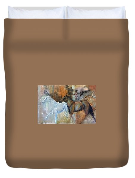 Duvet Cover featuring the painting Reflextion Of The White Horse by Frances Marino